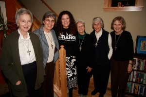 Melissa with Visitation Sisters Mary Margaret, Mary Frances, Katherine, Mary Virgina and Karen on her 40th Birthday at St. Jane House.