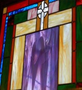 "Stained Glass Window of ""Visitation"" at Monastery in North Minneapolis"