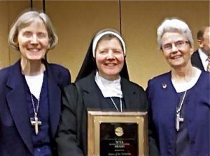 Sisters Karen Mohan, VHM, Susan Marie Kasprzak, VHM, and Katherine  Mullin, VHM with the 2010 NCEA Religious Community Award (Click for  More Info)