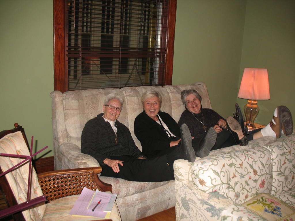 Care to Caption this?  Left to Right: Sr. Katherine; Vis Companion, Nancy Downey; Sr. Suzanne
