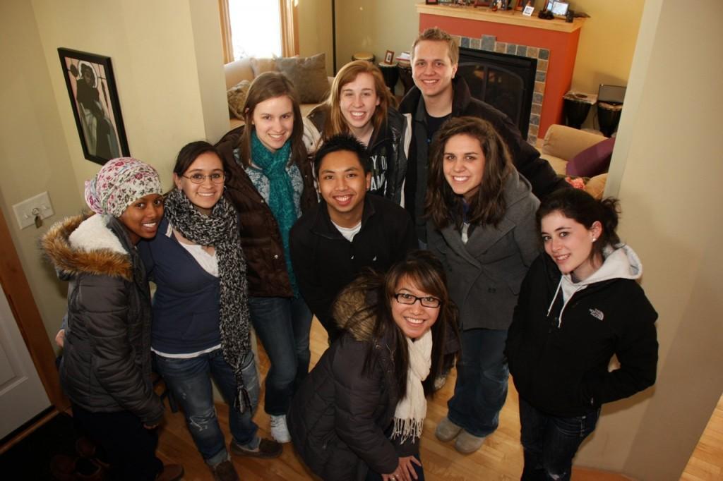 Nine Creighton Coeds: Ryan, Katie, Amal, Emily, Hannah, Kelsea, Lauren, Majo, and Michael