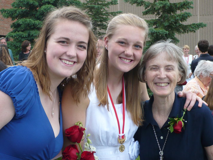 Courtney & Claire Kranz and Sr. Karen on Claire's Gradutaion Day from Vis