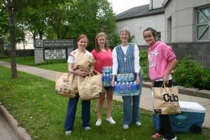 Visitation Seniors and Sr. Karen transport food to 4th Precinct Police Headquarters