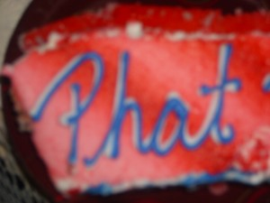Picture taken of Phat Phat's shared birthday cake on July 4, 2010