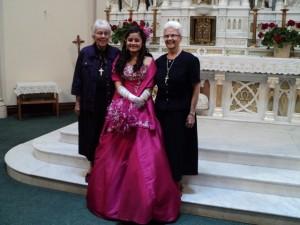 Sr. Mary Virginia and Sr. Katherine on the day of Sylvia Ochoa's quiñcinera