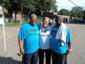 Sr. Mary Frances embraces two National Night of Peace Collaborators
