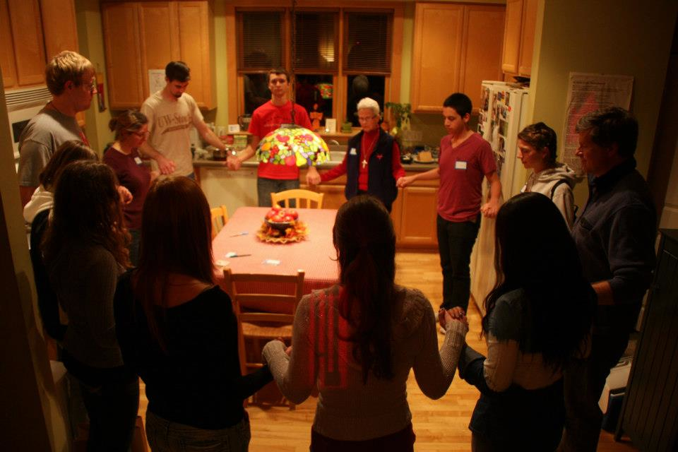 Prayer Circle at St. Jane House -- Care to provide a more creative caption? Enter one below in the comments section!
