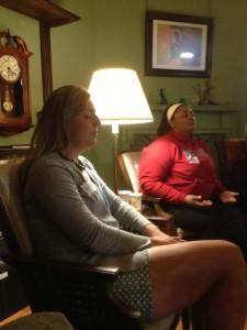 Vis Companions Heidi and Bianca practice centering prayer