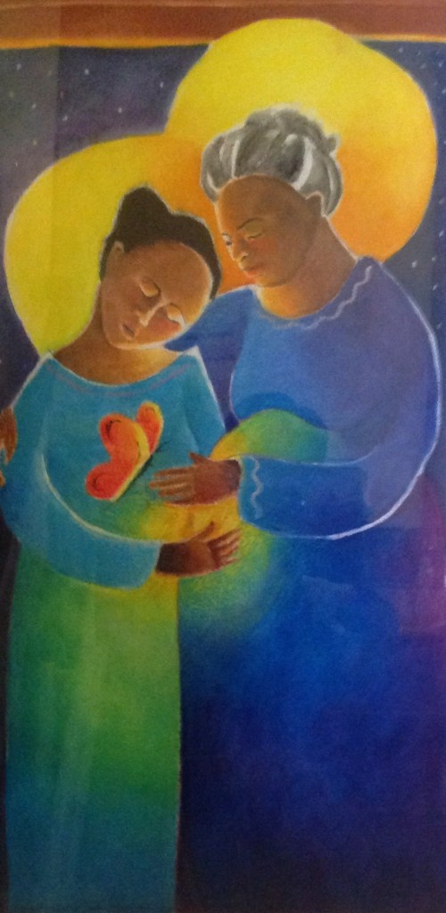 "A VISITATION  Brother Michael McGrath, OSFS, who created for us the ""Windsock Visitation"" that hangs in the Fremont living room, also created a Visitation that hangs in the stairwell at Girard. The women in the painting could be of any ethnic background. He had heart that teh initial experience of pregnancy is like a butterfly, here depicted under Mary's heart."