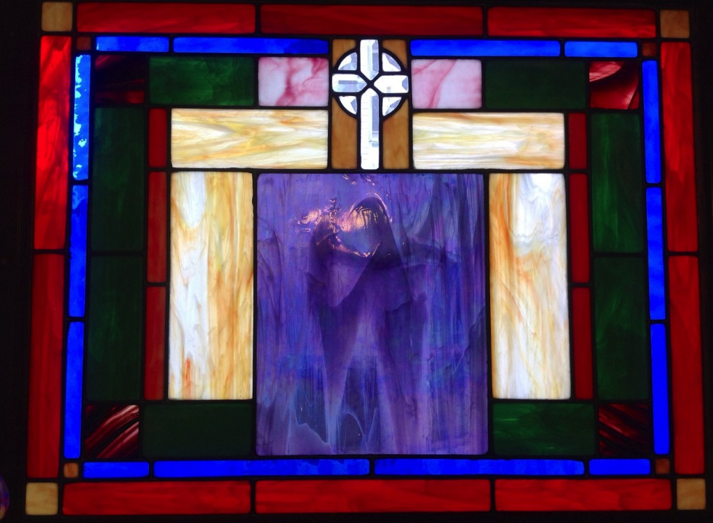 WINDOW OF VISION This stained glass window was created and installed in the Girard House dining room by John and Mary Scanlon in 2008. A piece of purple glass with an unusual image in its coloring the resembled a Visitation of Mary and Elizabeth was the inspiration for its creation. This gift and its presence in our house offers inspiration and hope.