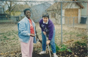 Our friend Willa Mae giving advice and gardening support to Sr. Mary Frances