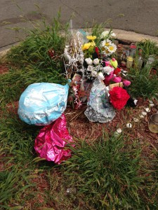 Honoring life: memorial site of a young person who died from gun violence in north Minneapolis.