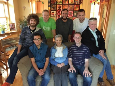 Oblates and Sr. Karen.  Top, L-R: Joe, Craig, Jordan, Chris, Jim; Seated, L-R: Joe, S. Karen, Fr. Mike