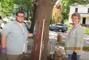 Cody (left) with Monastic Immersion Experience participant Brenda Lisenby