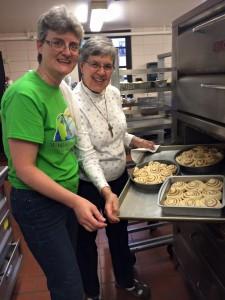 Brenda and S Mary Frances bake cinnamon buns and julekaga bread