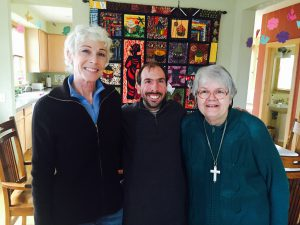 Meeting up with old friends: Sr. Suzanne with Anne and Nathan