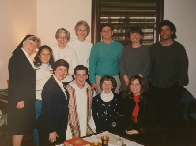 From the archives: Sister Jean and a community of friends at one of our first Christmas Liturgies in the 'Hood. The presider, Father Greg Tolaas, has also gone home to God.
