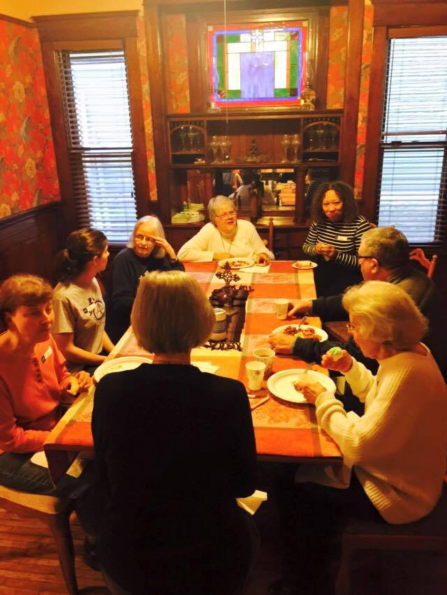 Sisters Suzanne and Karen share fellowship with neighbors and friends.