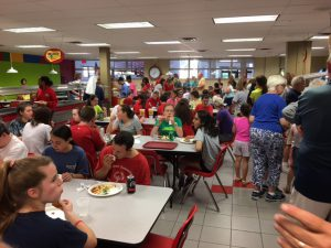 Sharing a meal during the Special Olympics Gametime